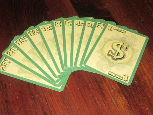 The money cards each player has to bid with. It can be a challenge to manage your money well.