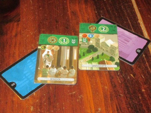 Science cards in Duel. You can see here the simplified tech-tree system (using icons instead of words) as well.