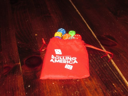 The dice and dice bag for Rolling America. The dice bag is a nice touch, and the dice are very high quality.