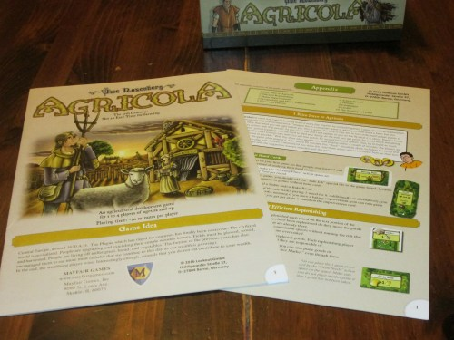 Agricola comes with a rulebook and a rules appendix. Yes, farming is hard work!