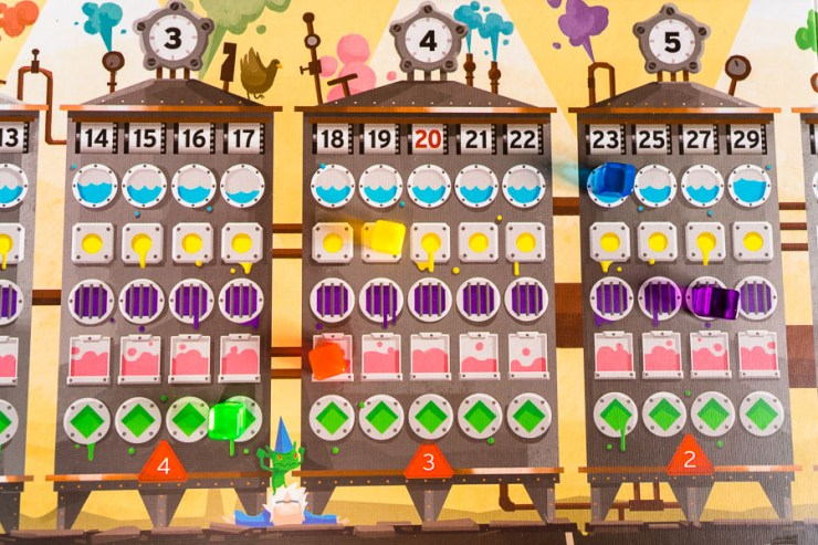 The amount of potions you can purchase of a single type is indicated in the red triangle at the bottom of the price machines.