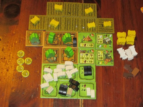 My farm at the end of a solo game. So much stuff! It's very rewarding to see what you've built at the end of the game.