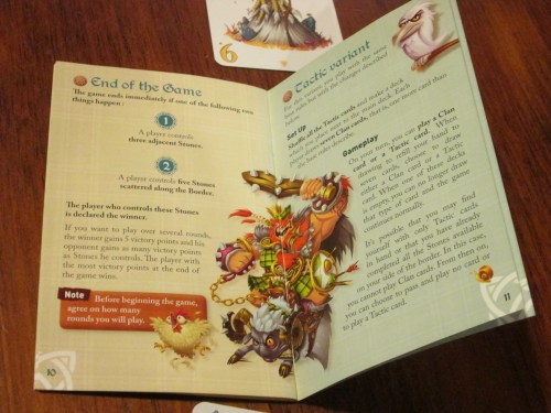 The rulebook is colorful and clear, and the variants are spelled out well.