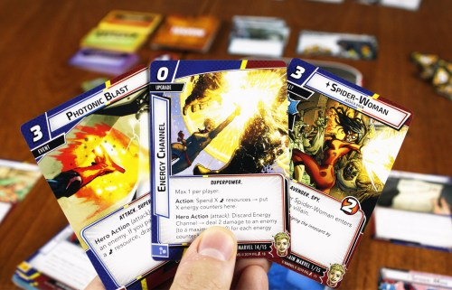 Captain Marvel cards - lots of energy blasts