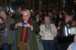 David Starkey switches on the Highbury Barn Christmas lights. Photo: Ashley Cowburn
