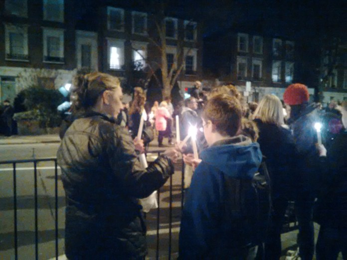Candle lit vigil for Alan Cartwright