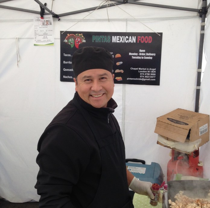 "Arnulfo, of Pintas Mexican Food, is more of a smiler than a talker. The best thing about his five months in Chapel Market is the other stall-holders. ""They're very fun"" he says, chuckling."