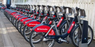 Cycle hire bicycles. The Zero Emissions Network is promoting 50% off Santander cycle hire memberships. Photo: Oast House Archive (CC BY-SA 2.0)