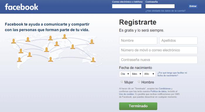 facebook registrarse
