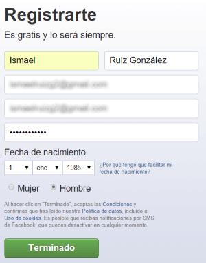 Datos de registro en Facebook