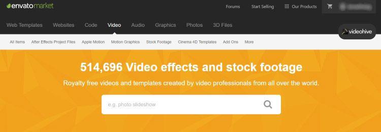 Videohive - pagina para descargar videos HD