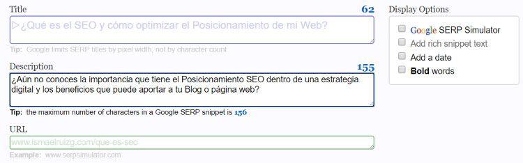 Metadescription que muestra SERP Simulator