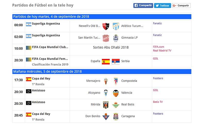 Programación del fútbol online en la TV