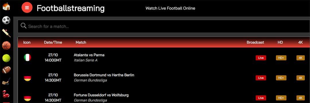 Football Streamings ¡Fútbol en directo!