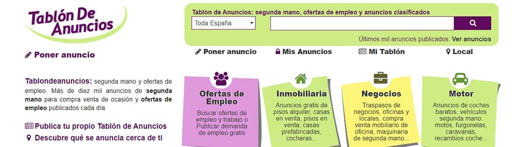 Tablón de anuncios gratis en toda España