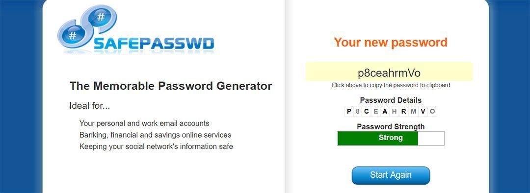 SAFEPASSWD, generador de contraseñas seguras