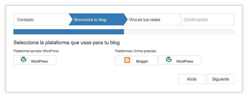 Paso 2»¿Usas WordPress.com? ¿WordPress.com? ¿Blogger?