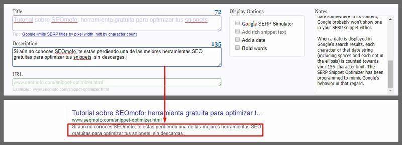 Ejemplo de descripción optimizada en SEOmofo