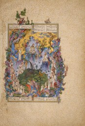 The Court of Keyomars Folio 20v from a Shah-­‐Nameh (Book of Kings) produced for Shah Tahmasp I Painting by Soltan Mohammad Tabriz, Iran, ca. 1522 Opaque watercolour, ink, gold, and silver on paper 47 x 32 cm AKM165