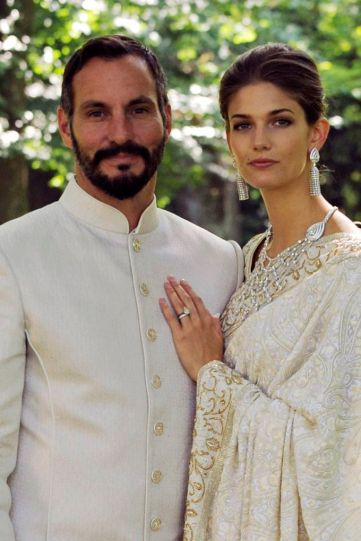 PR - 4 - Prince Rahim Aga Khan and Princess Salwa pose together during their wedding ceremony on August 31, 2013 in Geneva, Switzerland. Photo by Gary Otte-The Ismaili via Getty Images