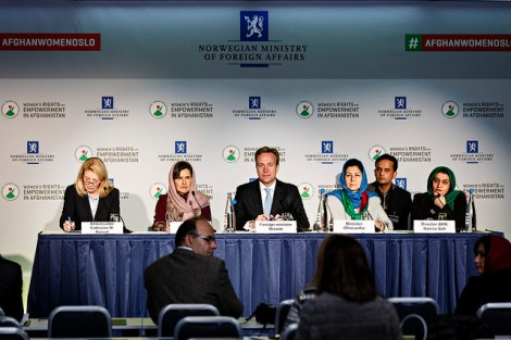 Symposium on Women's Rights and Empowerment in Afghanistan - Press Conference From left Catherine M. Russell, United States Ambassador at Large for Global Women's Issues, Rula Ghani, First Lady of the Islamic Republic of Afghan (Photo: Norway MFA/ Kilian Munch)