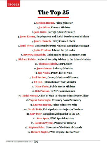 Power and Influence - Hill Times - Winter 2015 -HH Aga Khan with Prime Minister Harper - The Top 25
