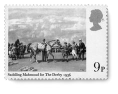 """""""Saddling Mamoud for the Derby 1936"""" single mint stamp issued to commemorate Aga Khan III's record breaking Derby wins and his contribution to British equestrian sport. (Image Credit: ASJM Collection)"""