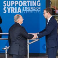His Highness the Aga Khan arrives at Supporting Syria & the Region Conference