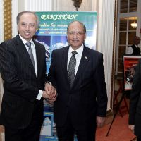 Diplomatic parties: Mahmoud Eboo, resident representative of the Aga Khan Development Network with Pakistani High Commissioner