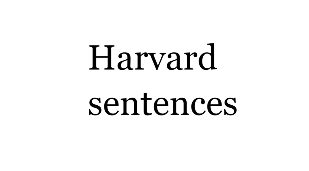 1965 Ten Phrases of List 11 of the 72 Harvard sentences lists Audio Digital voice testing