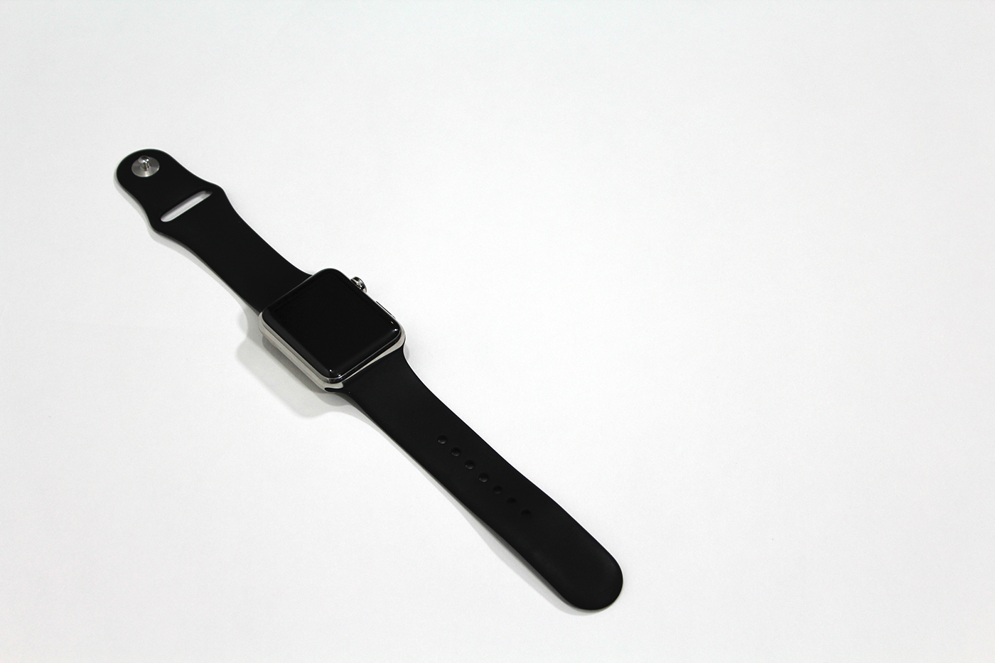 Apple Watch with black sports band