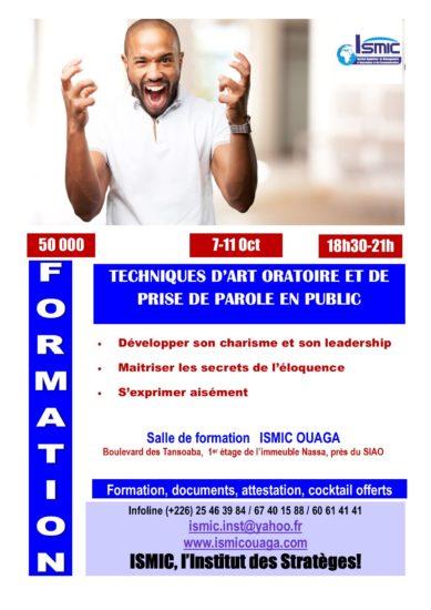Du 07 au 11 octobre, formez-vous   en art oratoire à ISMIC