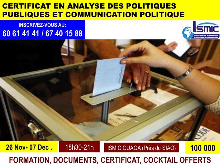 Votre certificat en communication politique du 26 novembre au 07 décembre à ISMIC