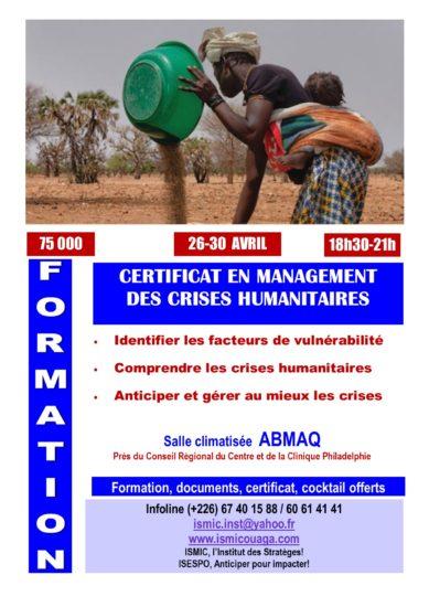 Du 26 au 30 avril, devenez spécialiste du management des crises humanitaires