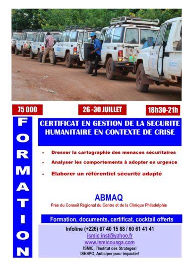 Du 26 au 30 juillet, devenez expert en gestion de la sécurité humanitaire