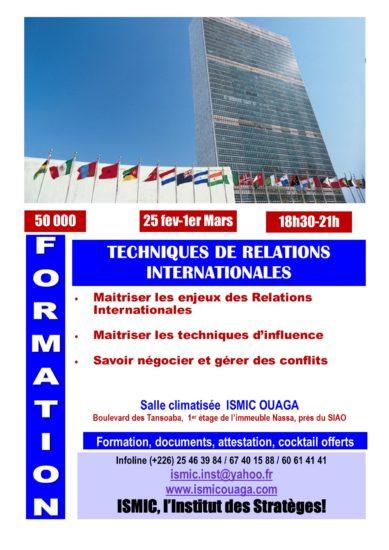 Du 25 février au 1er mars, formation en relations internationales à ISMIC