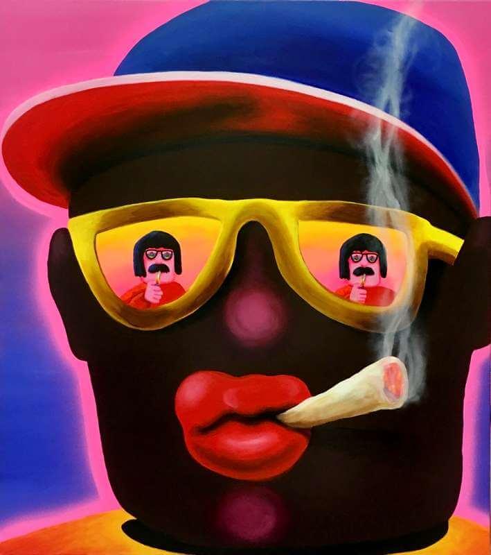 Super Future Kid: Pinturas caóticas cubiertas de neón, kitsch y cultura pop vintage