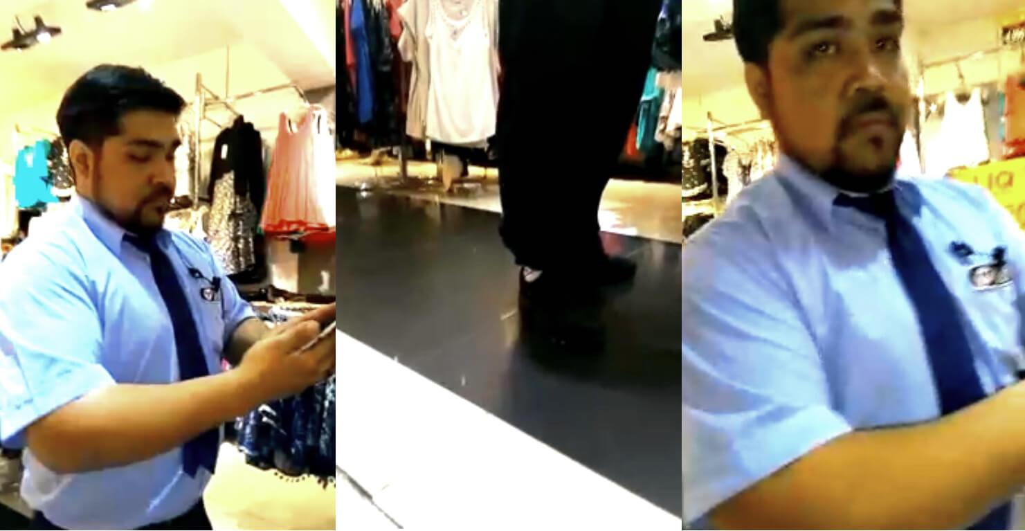 VIDEO: Guardia es descubierto con 60 fotos y videos de mujeres cambiándose en los probadores de una tienda