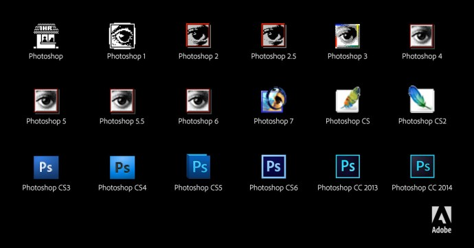 les différentes versions de Photoshop, copyright Adobe.