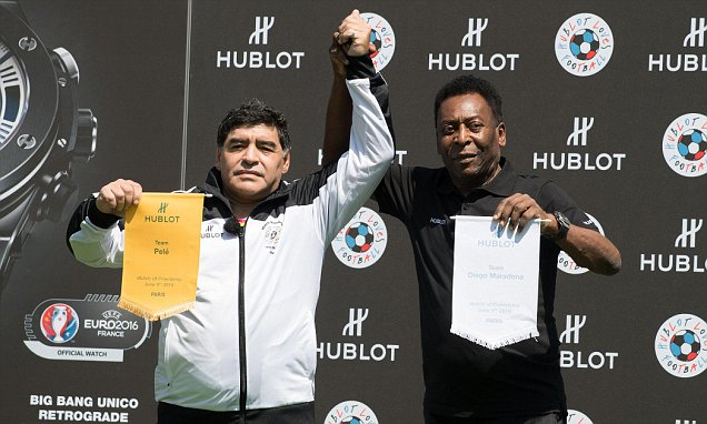 Mandatory Credit: Photo by NIVIERE/SIPA/REX/Shutterstock (5725253i) Diego Maradona and Pele Diego Maradona and Pele visit a Hublot promotional event, Paris, France - 09 Jun 2016 Argentina's Diego Maradona and Pele of Brazil competed as coach on Thursday in a friendly in Paris organized on the eve of the opening of Euro 2016 in France