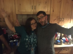 Sarah & Andrew demonstrating a side hug