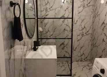 Marmer Badkamer en Toilet met Kunststof Marmer PVC Bladen