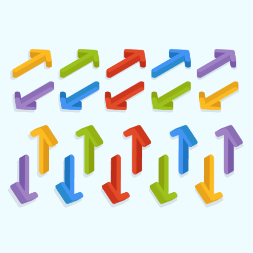Collection of colorful arrows indicators cursor pixel perfect 3D Free Vector Download