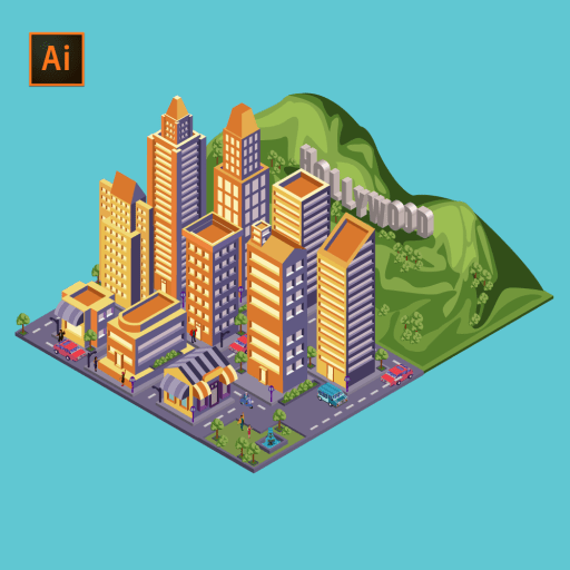 LA Hollywood city landscape in 3D isometric design