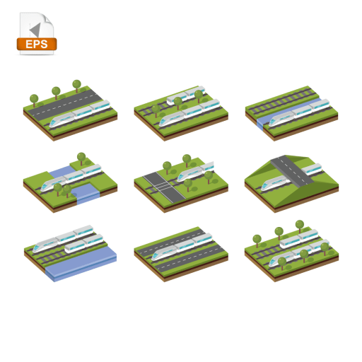 Isometric paths that contains transportation vehicles made in isometric view