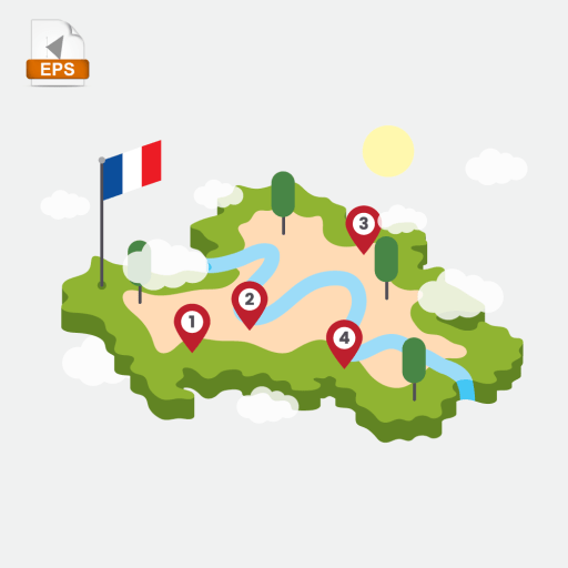 Route to Lyon with checkpoints in isometric style