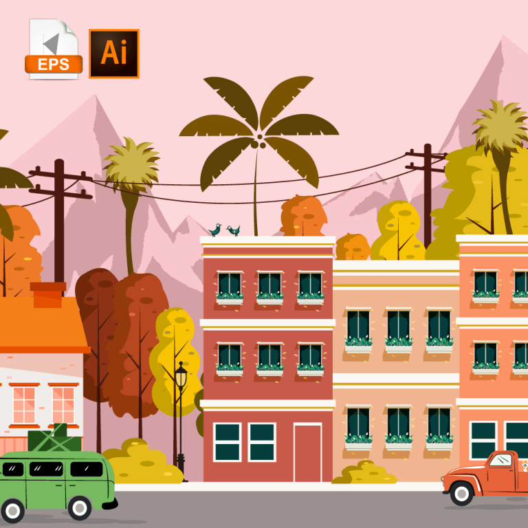 Flat colored town landscape, with lots of buildings and trees, with a nice moutain view in the back.