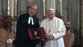 Francesco gives goblet Lutherans