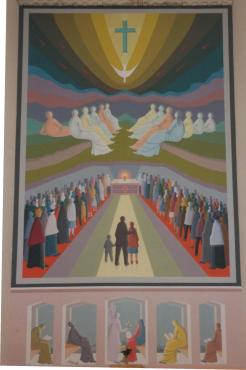 originale LA PENTECOSTE - AFFRESCO -- MT - 6 X 10