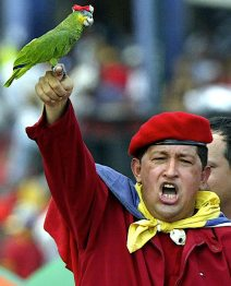 Hugo Chavez and the parrot